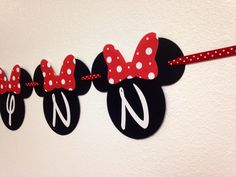 Your childs birthday party will be the Talk of the Town with this Minnie Bowtique inspired name banner!   This order is for a Minnie Mouse name banner with 8 letters or less, made with high quality, acid free, and lignin free cardstock. This particular banner is black, and red with white polka dots.The colors can be changed to match your theme at no additional charge. If the name has more than 8 letters, please message me for a custom listing. Each Minnie Mouse Head is approximately 5.5…