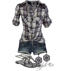 Casual summer outfit-just my style :) Komplette Outfits, Short Outfits, Casual Outfits, Fashion Outfits, Fashion Ideas, Polyvore Outfits, Shorts Outfits Women, Flannel Outfits, Jean Outfits