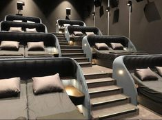 home theater design ~ home theater ideas ` home theater rooms ` home theater design ` home theater ` home theater seating ` home theater ideas on a budget ` home theater ideas basement ` home theater decor Home Theater Room Design, Home Cinema Room, At Home Movie Theater, Home Theater Rooms, Bed Cinema, Luxury Movie Theater, Dream Home Design, Modern House Design, Home Interior Design