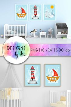 Download Nursery Room Posters | Boat Print | Baby Whale | Lighthouse (1406222) today! We have a huge range of Illustrations products available. Commercial License Included. #ad Baby Prints, Nursery Prints, Nursery Room, Nursery Wall Art, Baby Boy Rooms, Baby Boy Nurseries, Baby Whale, Baby Wall Art, Room Posters