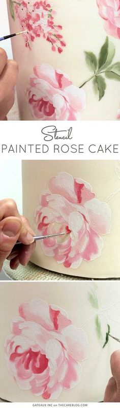 Learn how to make this gorgeous hand-painted rose cake, using cake stencils and an innovative cake decorating technique. Cake Decorating Techniques, Cake Decorating Tutorials, Cookie Decorating, Decorating Tools, Decorating Cakes, Cake Stencil, Stencil Painting, Cake Painting Tutorial, Stenciling