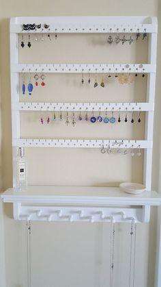 Jewelry Holder Shelf You Choose Stain Earring Organizer Necklace Displ . - Jewelry holder shelf You choose stain earring organizer necklace display O … – Jewelry ho - Necklace Display, Earring Display, Necklace Holder, Earring Storage, Wall Mount Jewelry Organizer, Diy Jewelry Holder, Diy Earring Holder, Jewelry Wall, Earing Organizer