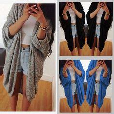 Womens Lady Casual Oversized Knit Sleeve Sweater Coat Polyamide Cardigan Jacket | eBay