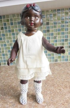VTG 1930 African-American Composition Doll Bow in Hair Unmarked