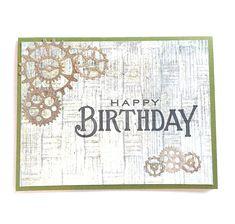 Happy Birthday Steampunk Masculine Gears Guy Card