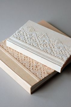 lace covered hardcover books / : handmade by Natalie Stopka (Try putting book cloth over the lace to have an inlay effect) Handmade Notebook, Handmade Journals, Handmade Books, Handmade Rugs, Handmade Crafts, Handmade Headbands, Handmade Bracelets, Journal Covers, Book Journal