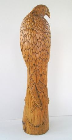 Falcon Wood carving, Handmade Woodcarving, 15,7 x 4,7 x 4,7 in. | OrionCarvings - Woodworking on ArtFire
