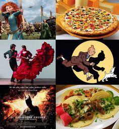 ¿Sabéis de que nacionalidad son la protagonista de Brave, la pizza, el autor de Tintín, el flamenco, la última película de Batman y los tacos?    (Fotos extraídas de filmaffinity.com, interesarte.com, taringa.net, carinalspanish9.blogspot.com.es, mundocine.com y pizzaplaneta-david.blogspot.com)