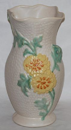Weller Pottery Delsa Yellow Flowered Vase from Just Art Pottery