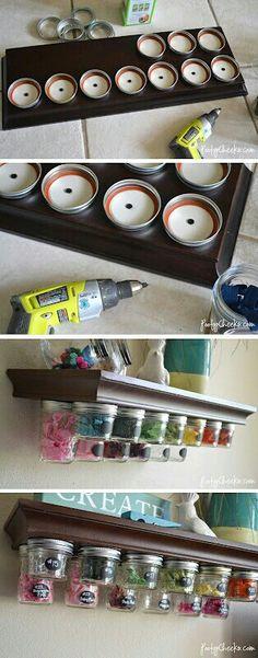 Drill mason jar lids into shelf
