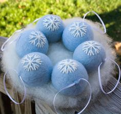 Felted Ornaments Christmas Blue White Snowflake Design