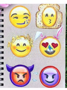 Emojis speak louder than words. Emoji Drawings, Tumblr Drawings, Disney Drawings, Easy Drawings, Social Media Art, Emoji Love, Doodle Art, Cute Art, Art Sketches