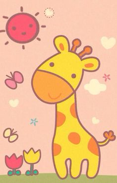 Art Drawings For Kids, Drawing For Kids, Cartoon Drawings, Easy Drawings, Art For Kids, Baby Painting, Painting For Kids, Giraffe Crafts, Image Deco