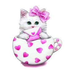 Victoriasmoon Popular The Cute Cat In The Teacup Diy Diamond Painting Kits Home Decoration Rhinestone Embroidery Cross Stitch Cute Kittens, Ragdoll Kittens, Tabby Cats, Bengal Cats, Kitty Cats, Crafts With Pictures, Cute Pictures, Art Mignon, Cartoon Cartoon