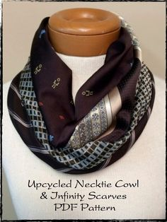 PDF Sewing Pattern for Recycled Repurposed Necktie Cowl (Bonus Infinity) Scarf for Women Instant - Bricolage Kleidung Upcycle Mens Ties Crafts, Neck Tie Crafts, Diy Necktie Projects, Old Ties, Old Neck Ties, Thrift Store Crafts, Thrift Stores, Online Thrift, Nail Swag