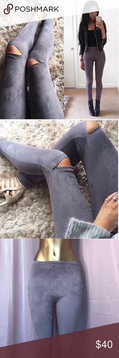 """🌹 TOP TREND FAUX SUEDE LEGGINGS W/ITH ZIPPERS 🌹 🌹 Top trend faux suede leggings with zippers on knees and side waist 27"""" elastic waist has stretch inseam 28"""" 🌹 Pants Leggings"""