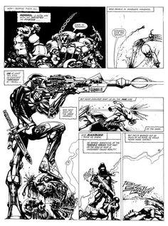 ABC Warriors from 2000ad - art by Simon Bisley. Mongrol, Joe Pineapples, Blackblood