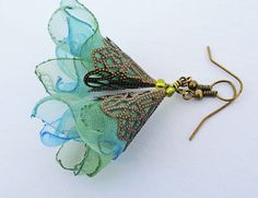 BACK Whisper of the Sea organza Artisan earrings by MGMart
