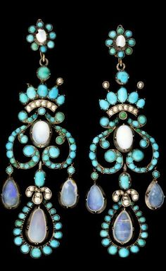 Earrings, silver gilt, with turquises, pearls and water opals. Ca 1860s