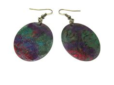 Green Violet Hand Painted Earrings by LunaEssence on Etsy