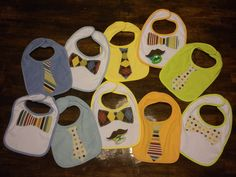 markham street design: Sophisticated Baby!...cute and easy diy baby gifts for a little boy (tie embellished bibs and mustache paci)