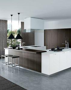 brown and white kitchen. poliform.