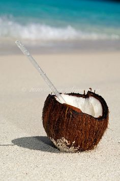 we did this in jamaica, have them split open a coconut and fill it with your favorite drink..less trips back to the bar! :)