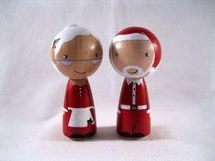 The Clauses Wood Peg Kokeshi Holiday Dolls or Ornaments. $50.00, via Etsy.