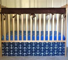 4-Sided Navy Anchor Crib Skirt  Sailor Pattern by 3LollipopGirls