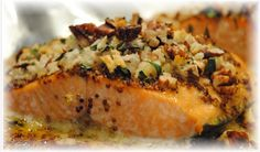 """Baked Dijon Salmon Serves 4  Notes: You could easily half the topping. It makes plenty.   For The Full Recipe Go To http://www.urbanfoodie.tv  Courtesy of """"The Girl Who Ate Everything"""""""