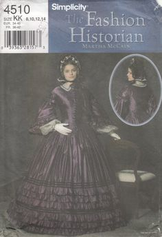 Simplicity 4510 Civil War Gown Pagoda Sleeves by CedarSewing