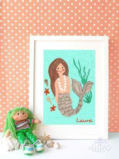 Láminas personalizadas para cuadros infantiles. #sirena #mermaid #girl #niña #babyroomdecor #deciracioni fantil