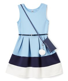 Take a look at this Beautees Blue Colorblock Sleeveless Dress & Purse - Girls today!