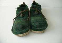 House Shoes with Leather Sole in dark green   all adult by leninka, $89.00