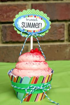 SRM Stickers - @Christine Ousley created this wonderful Summer themed party cupcake topper using SRM Stickers Summer Sticker Sentiments.  YUM!