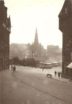 Cockburn Street looking towards Waverley Bridge. Edinburgh c1930's