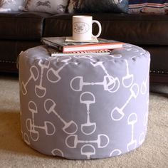 Gray Bit Pattern Ottoman - perfect equestrian decor for the living room! Neutral colors so it will go with anything and is horse themed! #horsestuff #hunterjumper #horsedecor