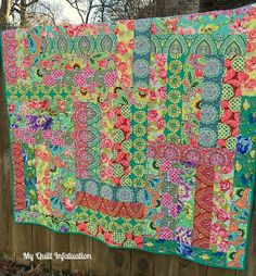 My Quilt Infatuation - Made with 4 1/2 inch strips from fat quarters
