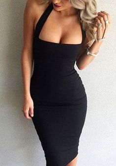 Front shot of blonde lady in black halter bodycon dress
