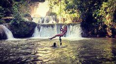 Rope swings at the YS Falls. Saint Elizabeth, Jamaica.