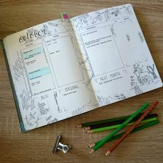 Using September's monthly spread had gone very well! All the different tasks were placed in the different sections and the overview was very nice. So this month I didn't change much about my monthly spread. I kept all the different sections and added some drawings and doodles. Like I said before: this months theme is all about autumn. The drawings are inspired by Johanna Brasford! For coloring the pages I used Steadtler colored pencils.