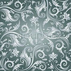 Luxury seamless grey floral wallpaper