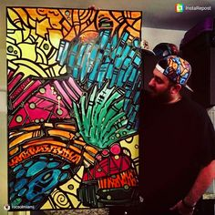 Excited to have talented local artist Adrian Gonzalez @rocsolmiami joining us! Love his work and hats!  #ArtFortLauderdale #FortLauderdale #Choose954