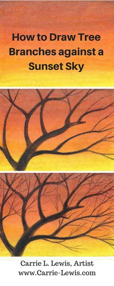 Step-by-step tutorial. Using dry drawing to add a tree silhouette to a watercolor pencil background.