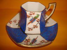 Rare / Gorgeous Blue & White Oriental Birds - Demitasse Tea Cup & Saucer