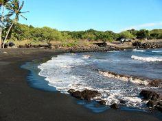Black sand beach - Big Island of Hawaii