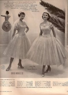Vintage ad for David Morris Co. bridesmaid dresses.  I love the one on the right with the wide sash.