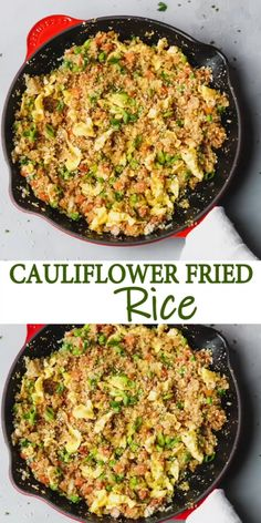 Keto Cauliflower Fried Rice Recipe Low Calorie Low Carb swap the regular starchy white rice in this Asian favorite take out with homemade cauliflower rice cauliflower friedrice rice No Calorie Foods, Low Calorie Recipes, Keto Recipes, Cooking Recipes, Mexican Recipes, Healthy Low Calorie Meals, Low Calorie Dinners, Low Calorie High Protein, High Protein Meals