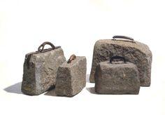 "Luiz Philippe, ""Malas de Pedra"" (""Stone Suitcases""), Sculpture/ Assemblage, Stone and Leather, Stone Sculpture, Sculpture Art, Art Pierre, Bokashi, Stone Mosaic, Wedding Art, Art Object, Animal Tattoos, Pebble Art"