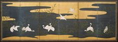Herons on a river Rinpa School, mid Edo Period (1615-1867)  A pair of six fold screens Ink and pigments on gold ground, 125 x 346 cm.